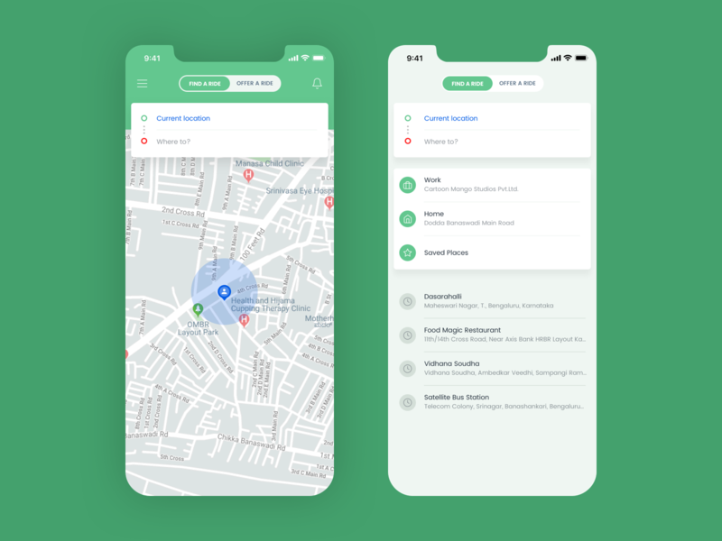 Ride sharing app UI sharing ride bike car booking white green ios android app app ux concept design ui