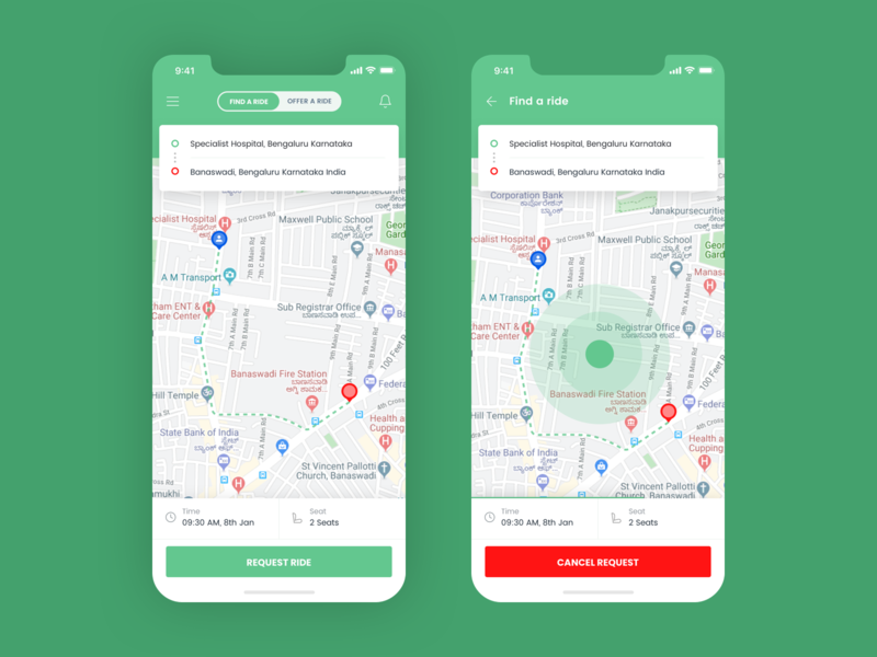 Ride sharing app UI request bike car green color share ride green ios android app ux app concept design ui