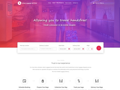 Website Design For Luggage Transfer Delivery Service delivery logo transfer delivery service delivery app delivery logo website ui branding landing page design ui design website design graphics design design luggage transfer delivery luggage transfer delivery