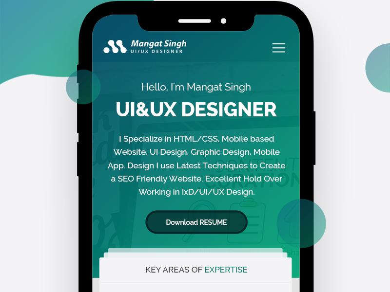 Personal Resume I Phone X Mobile App Design For UI/UX Designer by UI ...