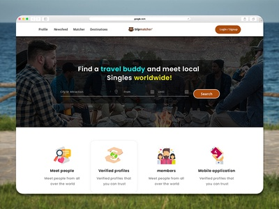 TripMatcher is Find travel buddies Website Design