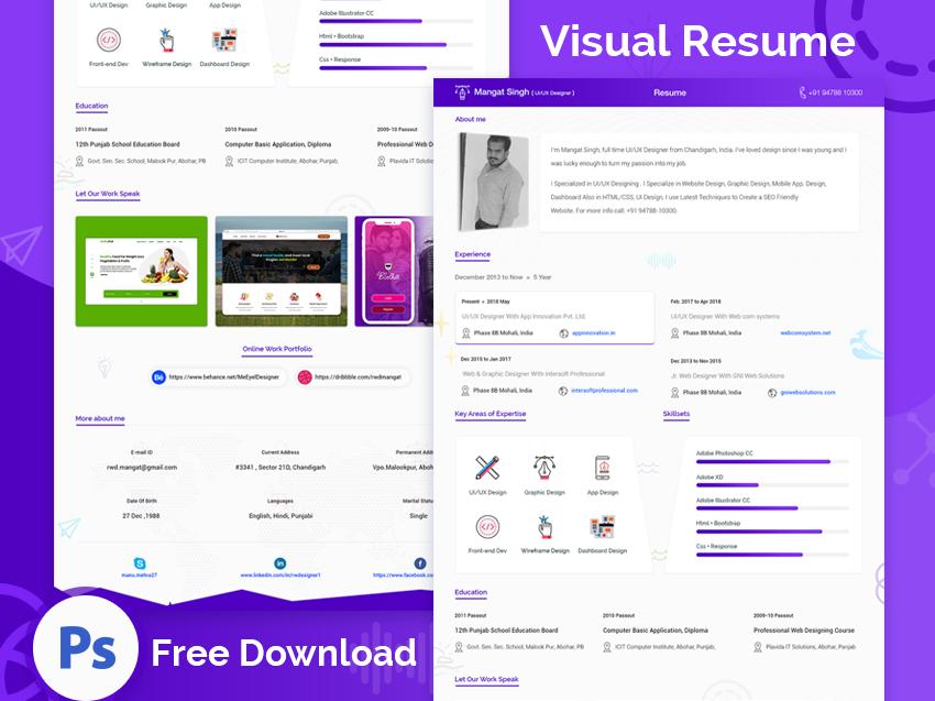 Visual Resume Design Template Free Download By Ui Ux Designer Mangat Singh On Dribbble