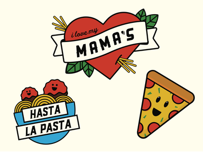 Mama Ricotta's Tattoos pasta illustration kids italian food temporary tattoo tattoo flash tattoo design tattoo
