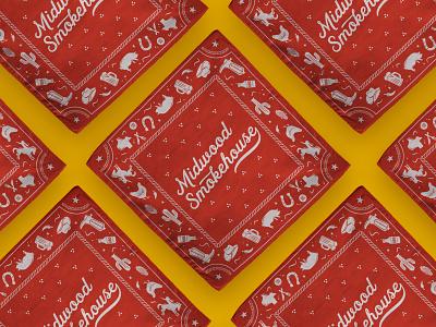 Midwood Smokehouse bandana texas illustration branding bbq apparel design bandana
