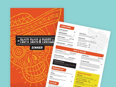 Pacos Tacos Menus drink menu sugar skull menu design menu mexican restaurant mexican food restaurant branding restaurant