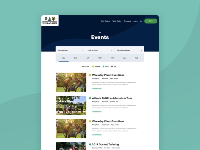 Trees Atlanta Event Feed filter events feed ui web design website