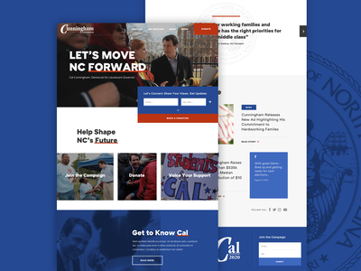 Cal for NC Take 1 grid homepage layout ui website web design campaign election politics north carolina senate