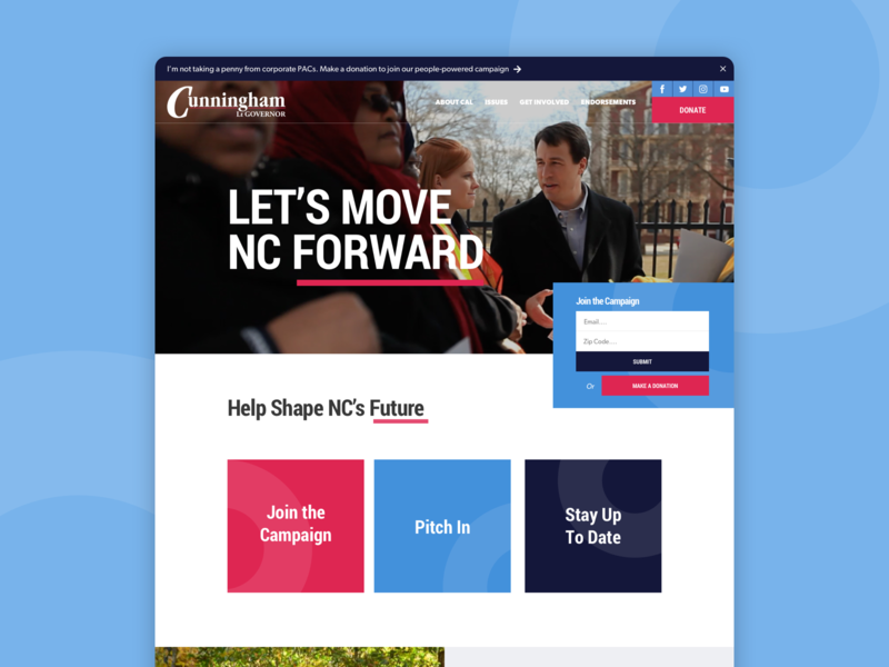 Cal for NC Take 2 ui layout homepage grid web design website senate political campaign politics