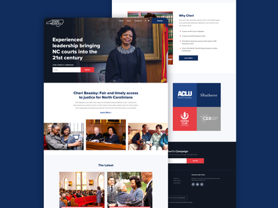Cheri Beasley for Chief Justice elections judge layout campaign politics grid homepage ui website web design