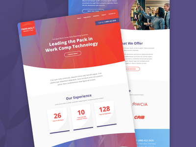 Farragut Worker's Comp Homepage landing page software layout homepage ui website web design