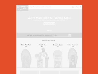 Fleet Feet Wireframe v1 ecommerce website running store wireframe fleet feet web design new media campaigns