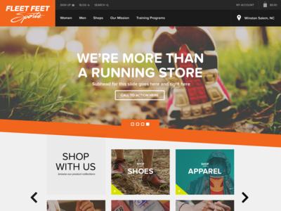 Fleet Feet Homepage Mockup v1 ecommerce website running store homepage slider shop fleet feet web design shoe new media campaigns