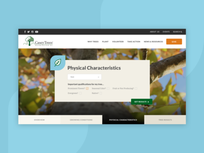 Tree Finder web design form search nonprofit website ui