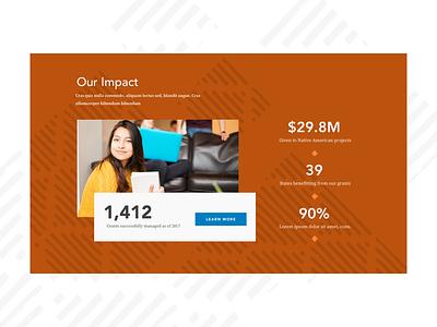 Impact Block texture nonprofit impact stats block homepage ui website web deisgn