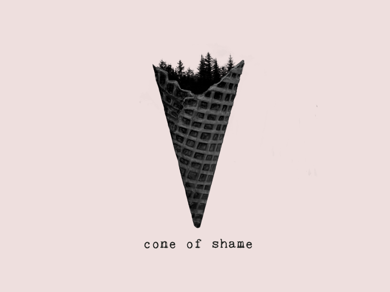 cone of shame nature symbolism concept design forest ice cream illustration shame cone