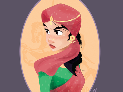 Rani laxmi bai - II anger saree historic illustartion iconic logo indian women fighter freedom power eyes portrait design charater