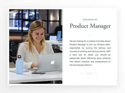 Product Manager typography ux ui web jobs pagination card manager product