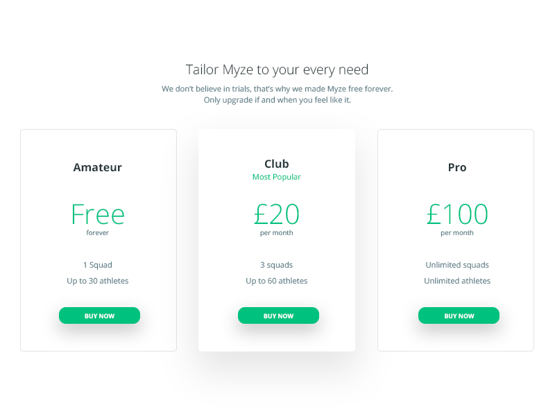 Pricing - Myze billing. pricing sports landing desktop concept interface user ui web