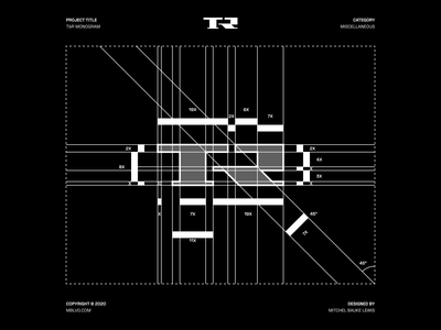 T&R - Logo Design / Grid branding concept monogram mark symbol logo grid minimal logodesign