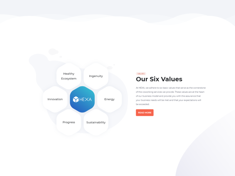 Our Six Values website webdesign values ui ux ui section search product landing page hexagon hexa design company adobexd