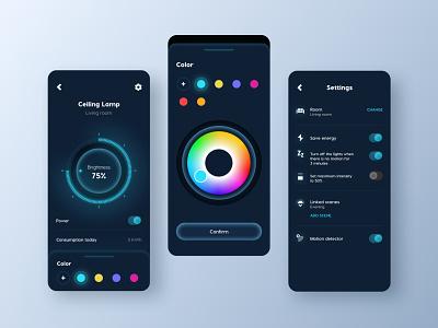 Hously - Smart Home App - Light smart home app blue color wheel clean ui dark ui light smart home design ux ui mobile miquido clean mobile app