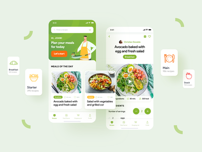 Recipe app design greens recipe card modern yummy servings ingredients clean ui ux ui mobile miquido recipe app