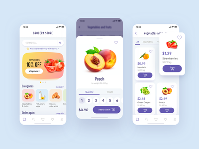 Grocery store product card mobile app categories weight quantity minimal ux clean ui miquido food ecommerce grocery app grocery store