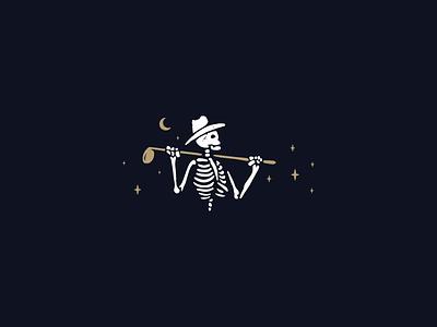Bone-ament 2020 happy new year moon stars gold tournament badge golf branding design fun logo follow me skeleton happy