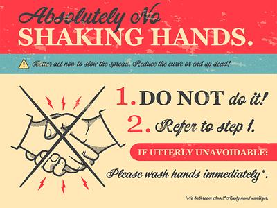Please REFRAIN! Ha... red follow me bolt lightning handshake poster design halftone poster vintage