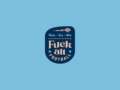 F&@% All Football sports team patch badge stars blue fantasy lightning design football