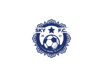 Sky Football Club fun design logo branding emblem soccer badge feminine floral blue girls follow me team logo team club soccer