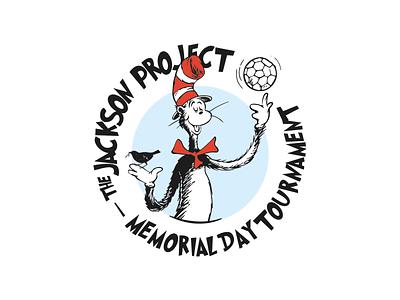 2020 Jackson Tournament Logo/Poster shot fun design follow me bird cat cat in the hat poster logo memorial day soccer ball seuss soccer tournament charity disease awareness