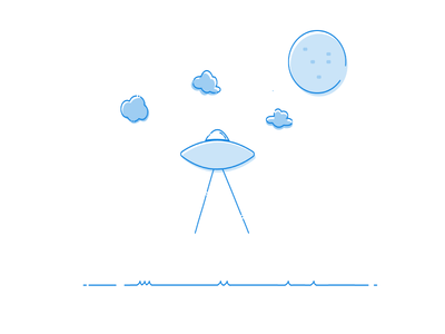 UFO aliens alien clouds ufo nature illustration animation planets stars space