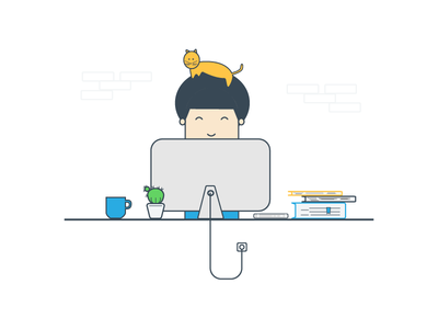 Workspace graphic flat illustration cup books boy vector 2d gif cat computer workspace