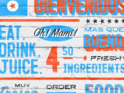Oh! Mami! texture brush orange blue vintage typography type script logo lettering sign design