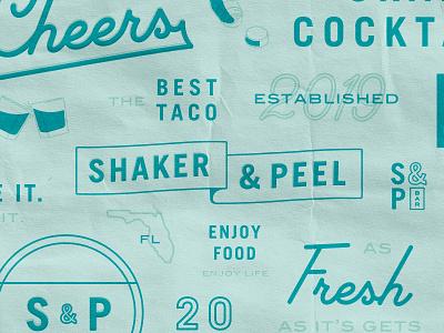 Asset Exploration food cocktails drinks bar typography seal script assets logo lockup branding badge