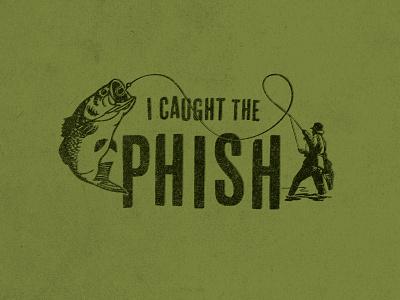 Phishing texture rough green brush caught fishing fish illustration