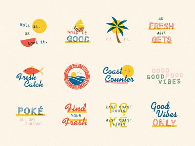 Good Vibes mark assets poke cali hawaii logo script branding badges