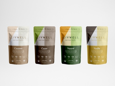 LivWell Packaging Design Concept raw type branding packaging geometric colors protein organic pouch bag