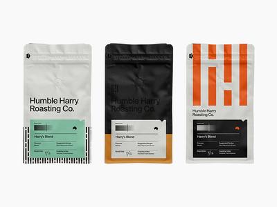 Humble Beginnings australia vintage roasting packaging branding logo coffee bag modern swiss