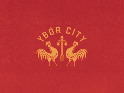Brickkkkk stamp vintage florida ybor rooster chicken badge illustration texture logo branding