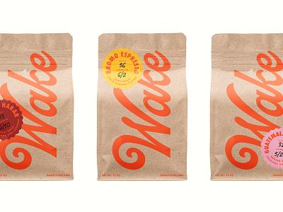 Wide A-Wake script type packaging branding coffee bag bag design