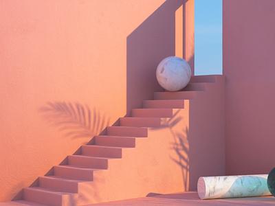 Stairs octanerender 3d art surealism