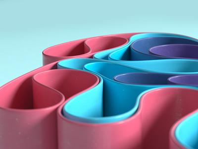 Ribbons 3d art dynamics simulation 3d cinema 4d
