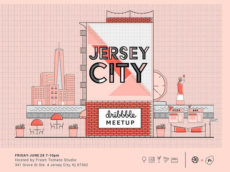 Jersey City Dribbble Meet up ping pong mural colors design meet up nyc networking illustration jersey city