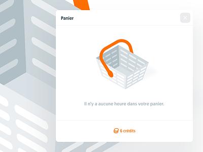 Empty cart, Kitt : Ornikar Design System isometric isometry cart illustration modal popin navigation design system style guide ui kit mobile