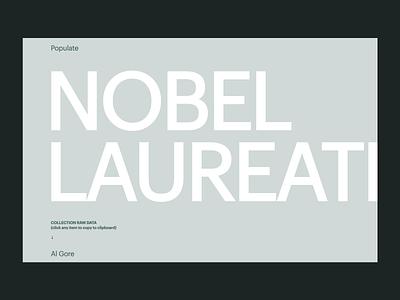 Nobel Laureates • Populate website freebie ressource sketch download data project side-project webflow typography