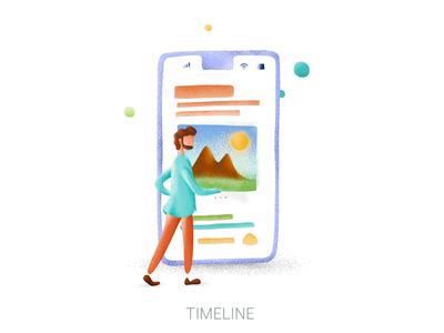 Messenge app timeline Illustration