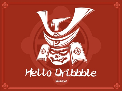 Dribbble Samurai debut vector samurai logo hello dribbble design art illustration