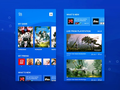 PSN Redesign #1 design sony psn simple homepage blue game adroid ios app ux ui